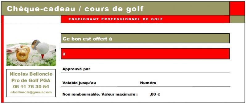 Cheque cadeau golf